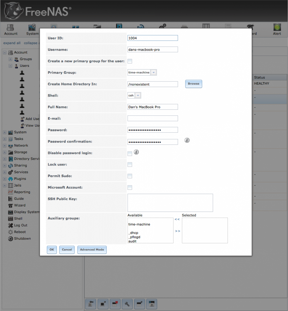 FreeNAS Create User Dialog