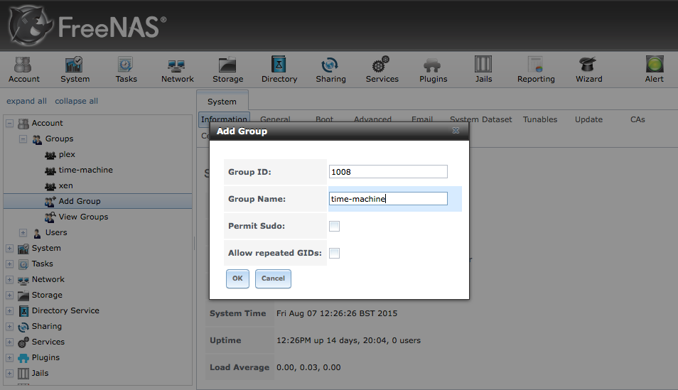 FreeNAS Group Settings