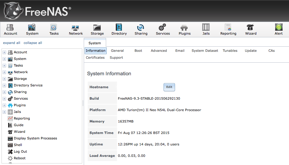 FreeNAS 9.3 Homepage