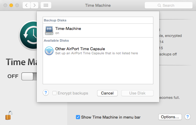 Add FreeNAS to Time Machine in OS X Dialog
