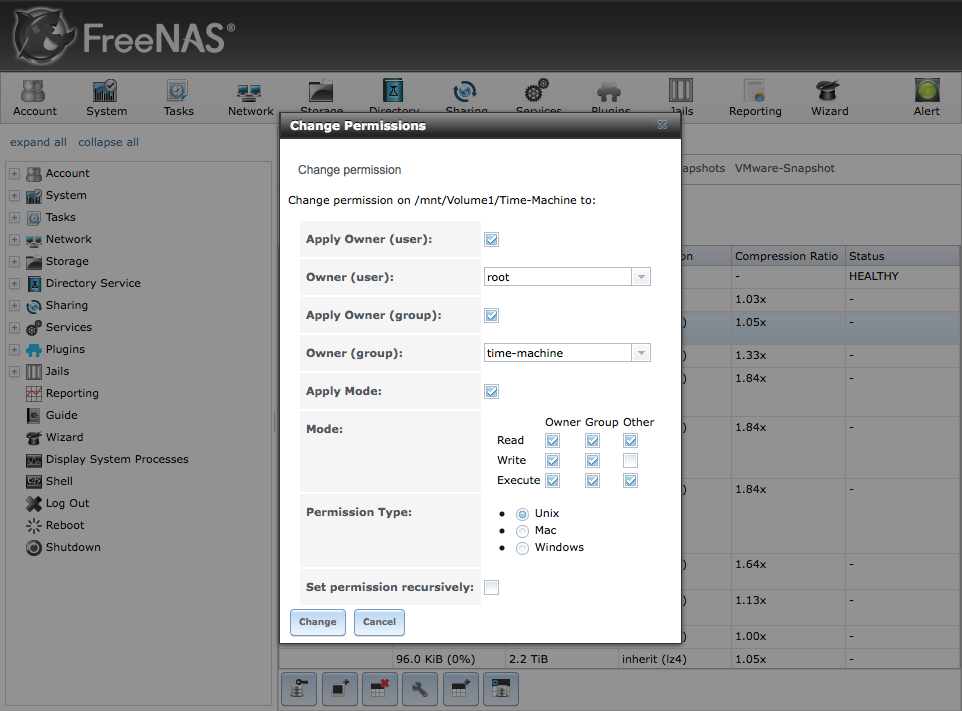 FreeNAS Change ZFS Permissions Dialog